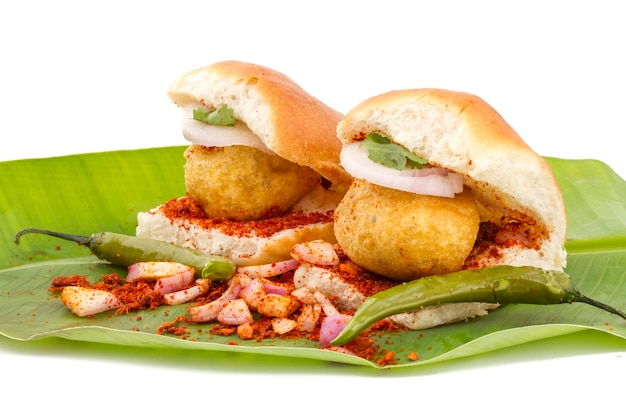 Indian vada pav food