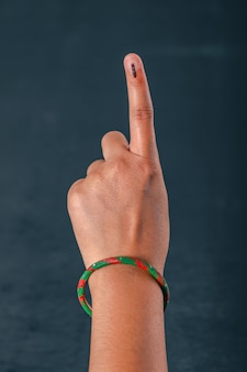 Indian voter hand with voting sign after casting vote in election