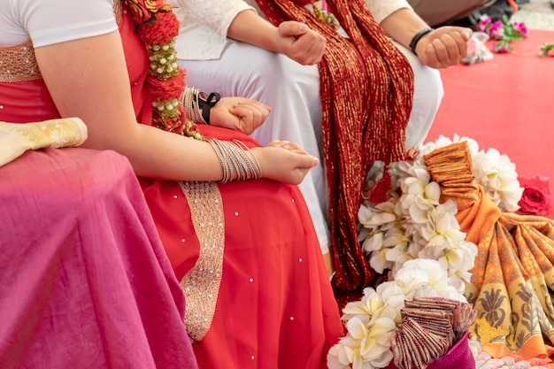 Indian wedding ceremony, decorations for traditional ethnic rituals for marriage