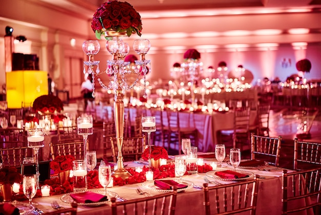 Indian wedding reception dinner venue decoration with luxury red gold theme