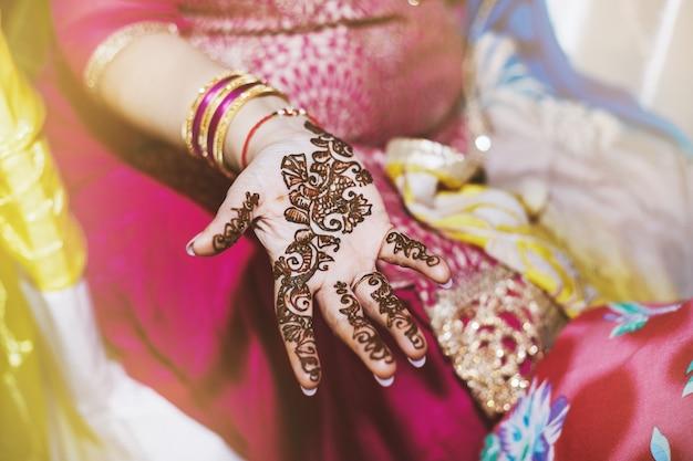 Indian women showing beautiful art henna