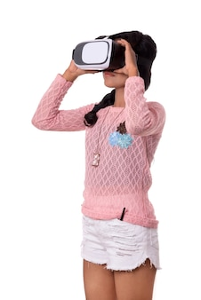 Vr 장치, 3d 가상 현실 안경 헤드셋, 현대 이미징 미래 기술 소녀를 찾고 인도 어린 소녀.