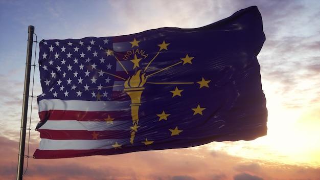깃대에 인디애나와 미국 국기입니다. 바람에 물결 치는 미국 및 인디애나 혼합 깃발