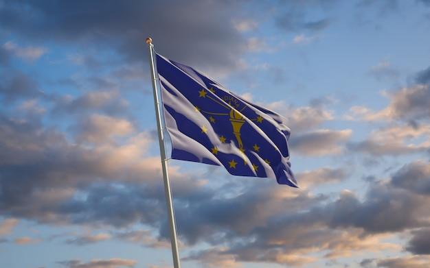 空の背景にインディアナ州の州旗。 3dアートワーク