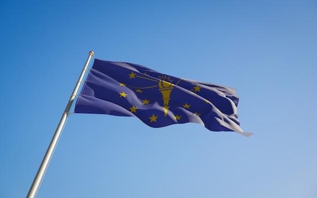 インディアナ米国州旗ローアングル。 3dアートワーク