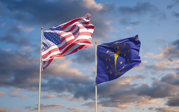 空の背景にインディアナ州の米国旗。 3dアートワーク