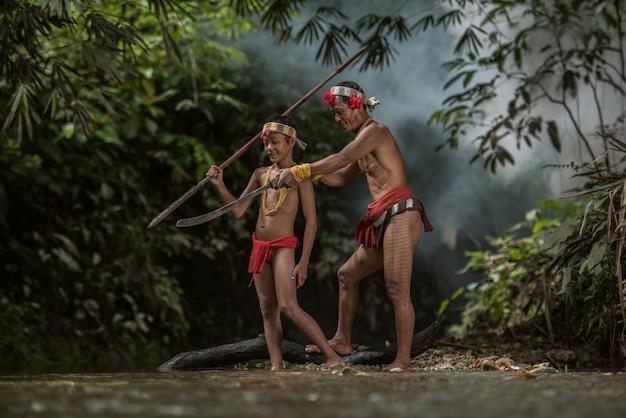 Indigenous inhabitants ethnic of the islands in muara siberut at west sumatra, siberut island, indonesia.