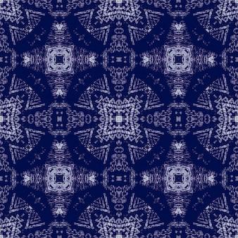 インディゴエスニック刺繡。民俗飾り。クラシックブルーのシームレスパターン。