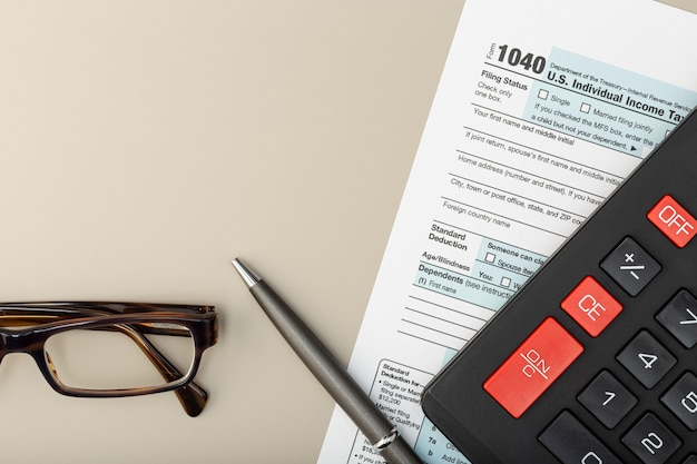 Individual tax return form on table. tax time concept. top view copy space