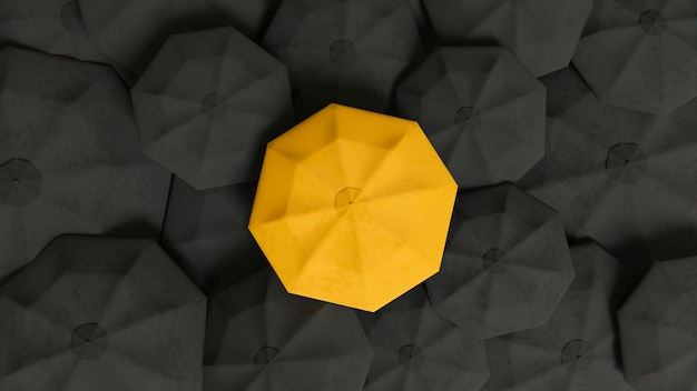 Концепция индивидуальности среди зонтиков