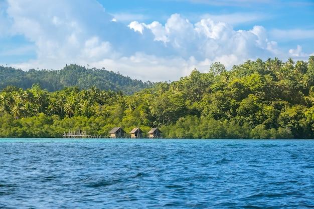 Индонезия. побережье тропического острова, заросшего тропическим лесом. солнечная погода. три хижины на сваях в воде