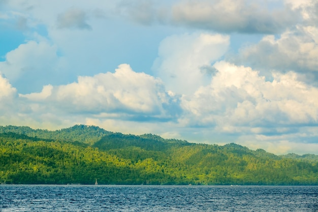 Indonesia. a distant tropical island in sunny weather. shadows from the grandiose clouds on the rainforest