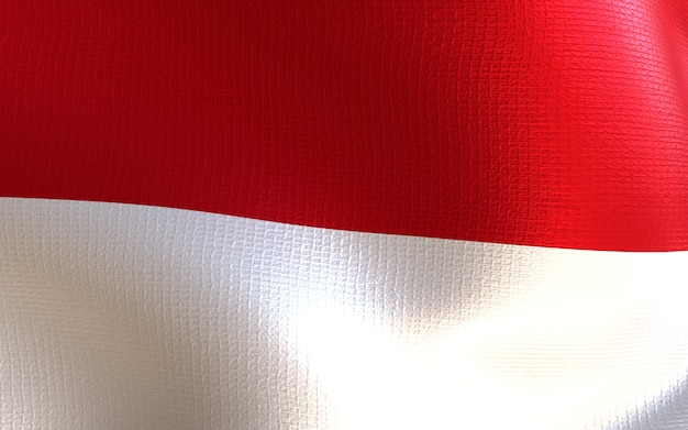 Indonesia flag 3d render with texture
