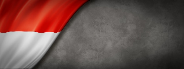 Indonesia flag on concrete wall. horizontal panoramic banner. 3d illustration