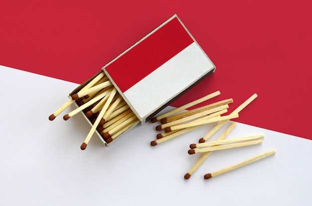 Indonesia flag  is shown on an open matchbox, from which several matches fall and lies on a large flag