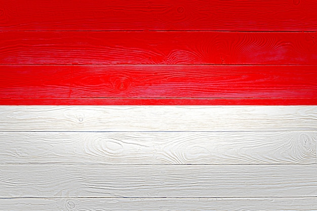 Indonesia flag painted on wooden planks