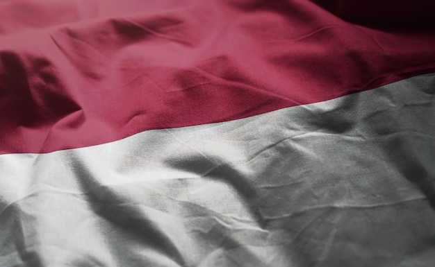 Indonesia flag rumpled close up