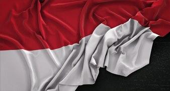Indonesia Flag Wrinkled On Dark Background 3D Render