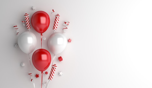 Indonesia  independence day decoration background with balloon firework