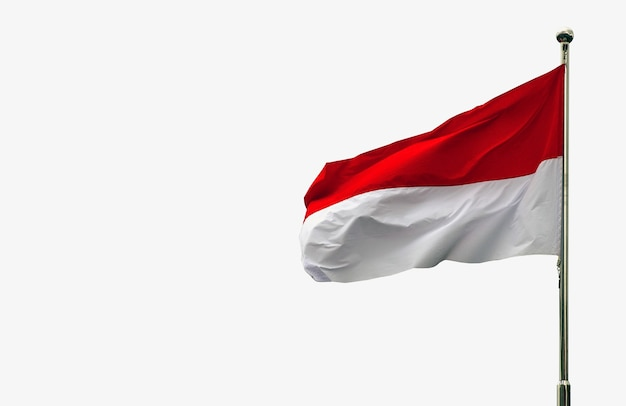 Indonesia and monaco national flag isolated on white background
