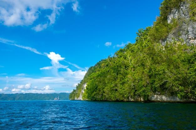 인도네시아. 화창한 날씨에 열 대 섬의 바위 해안. 경사면에 열대 우림. 거리에서 선박