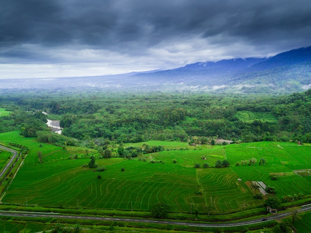 Indonesia's natural beauty with aerial photos with misty morning
