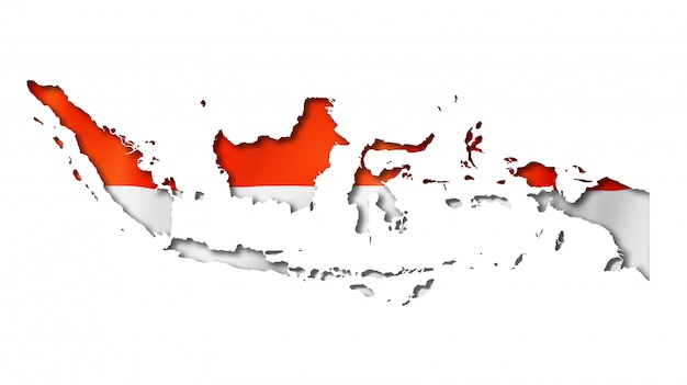 premium psd indonesian flag map premium psd indonesian flag map