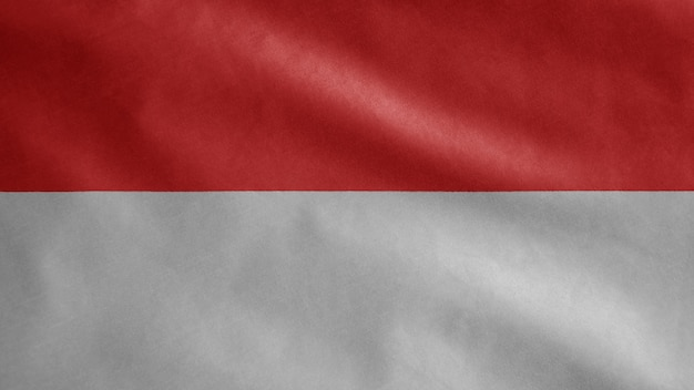 바람에 물결 치는 인도네시아 국기. 인도네시아 배너 불기, 부드럽고 매끄러운 실크의 클로즈업