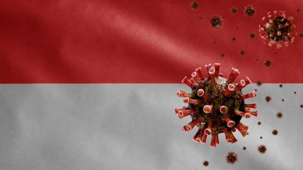 위험한 독감으로 호흡기를 감염시키는 코로나 바이러스 발생과 함께 인도네시아 국기를 흔들며.