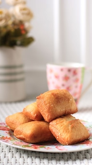 Indonesian fried bread called roti/kue bantal or famous name odading