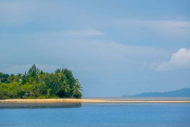 Индонезийский остров в архипелаге раджа ампат. пустая отмель на берегу тропического острова. одинокая хижина прячется за деревьями