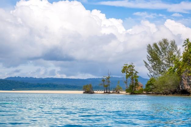 라자 암팟 군도에 있는 인도네시아 섬. 열 대 섬의 해안에 빈 모래톱. 외로운 오두막은 나무 뒤에 숨어