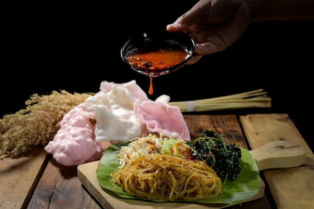 Indonesian traditional food rujak asem hot and spicy