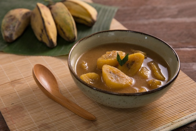 Indonesian traditional food with banana and palm sugar