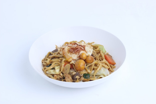 Indonesian traditional street food fried noodle bakmie jawa isolated