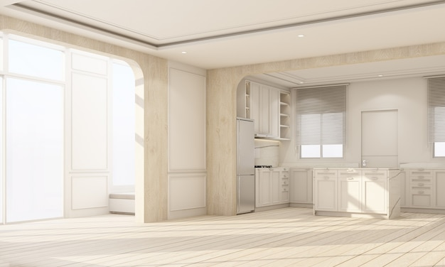 Indoor interior on wooden floor with white classic feature wall in large room at minimal house and sky light window of empty living dining and kitchen room cozy scandinavian style 3d rendering