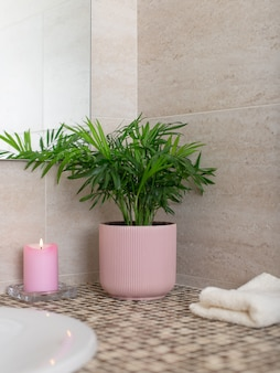 Indoor plant in a flower pot, a burning candle and a bath towel near the sink in the bathroom. eco botanical home decor. vertical image.