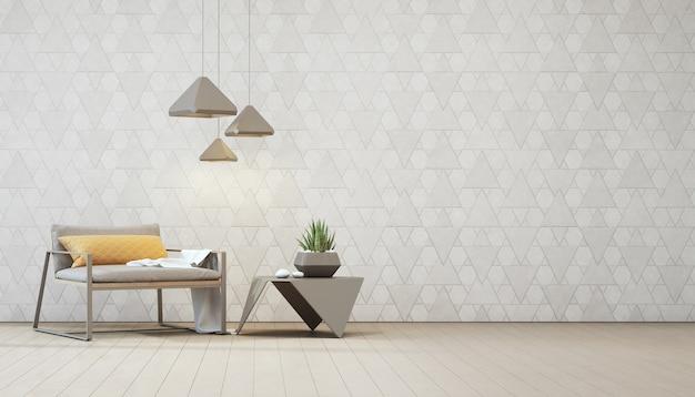 鉄製のコーヒーテーブル上の屋内プラントと空の白い三角形の壁のあるアームチェア。