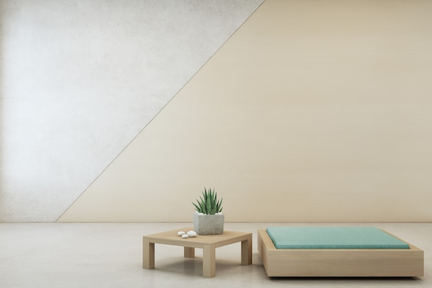 Indoor plant on wooden coffee table and minimal furniture with empty concrete wall