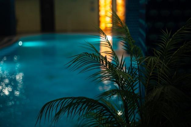 Крытый бассейн в спа-салоне расслабиться при тусклом свете Premium Фотографии