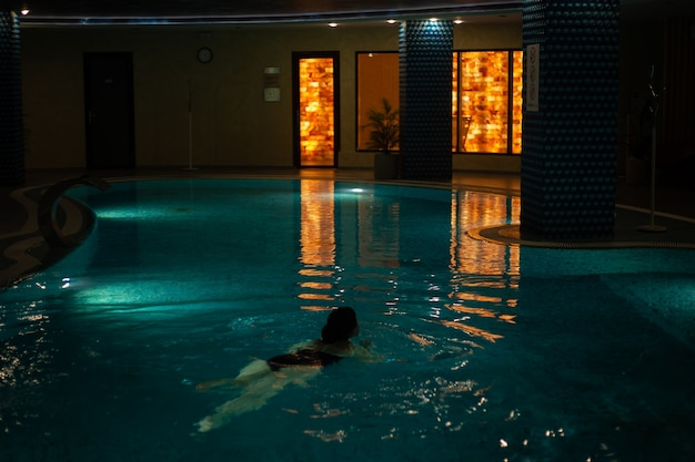 Indoor pool in the spa relax dim light