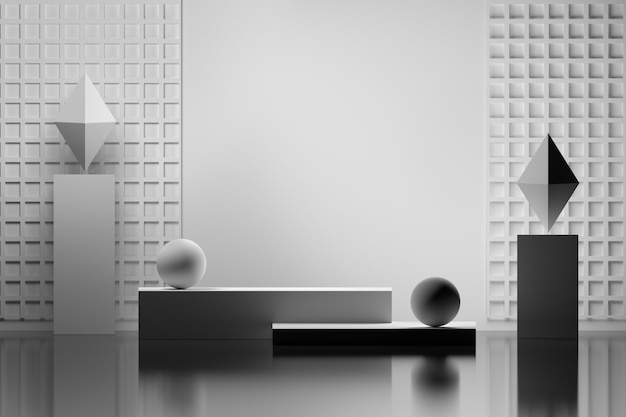 Indoor presentation composition with blank empty wall