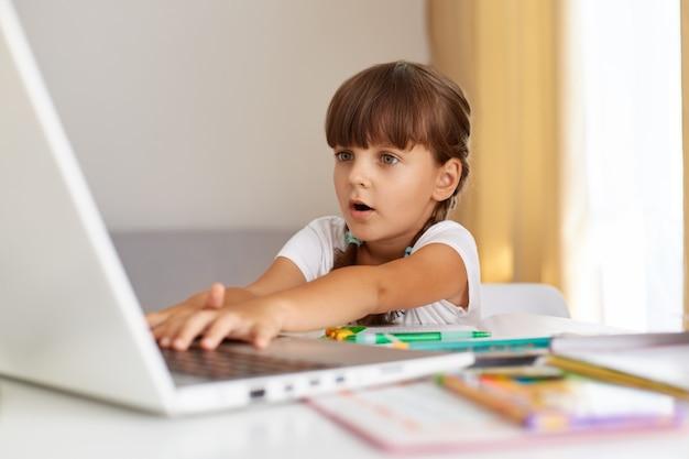Снимок изумленного ребенка женского пола с косами, сидящего перед компьютером с очень удивленным выражением лица, с удивленным выражением лица смотрящего на дисплей ноутбука, онлайн-образование.