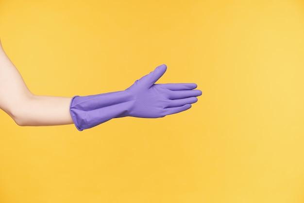 Снимок в помещении: рука женщины в фиолетовой резиновой перчатке протягивается вперед, собирается пожать кому-то руку, заканчивает генеральную уборку и позирует на желтом фоне