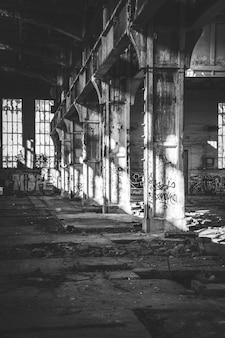Indoors shot of an old abandoned facility in a suburban city