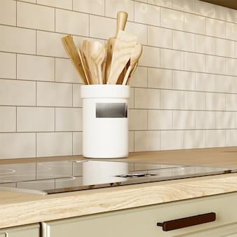 Индукционная плита в интерьере кухни. 3d рендеринг
