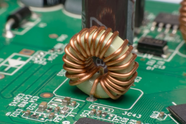 Inductor copper coils on the circuit board