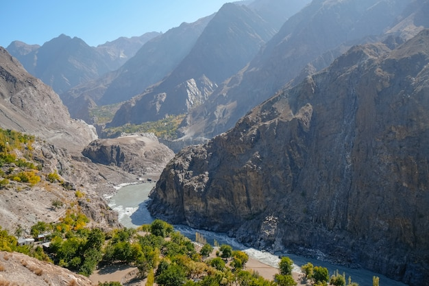 Indus river flowing through mountains along the karakoram highway. gilgit baltistan, pakistan.