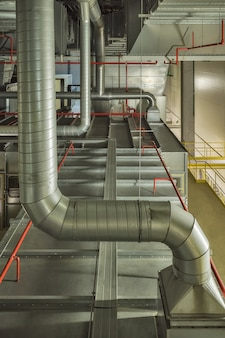 Industrial air cooling system and ventilation pipes