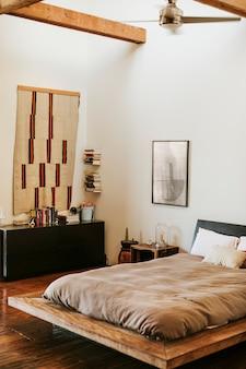 Industrial bedroom with dark wooden floors